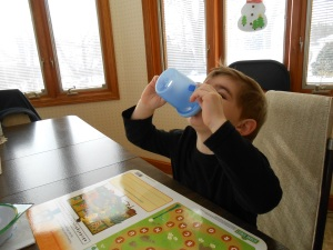 That's water in his sippy cup.