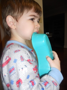 Yup, he'll put that in his mouth, but not medicine. Don't worry-it was an unused spare that we brought home on Thursday. He thinks it is the best toy EVER!